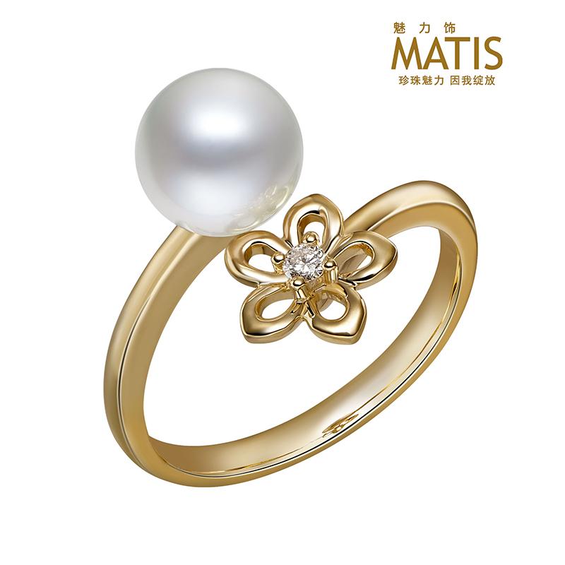 18K白珍珠戒指托梅兰竹菊