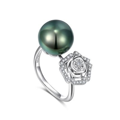 18K黑珍珠戒指